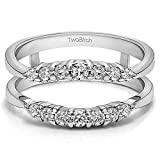 TwoBirch 0.35 ct. Cubic Zirconia Curved Wedding Ring Guard Enhancer in Sterling Silver (1/3 ct. twt.)