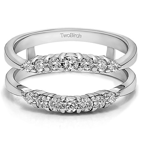 Curved Wedding Ring Guard Enhancer with 0.32 carats of Charles Colvard Created Moissanite in Sterling Silver by TwoBirch