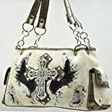 Cream Fashion Cross and Wing Purse with Rhinestones, Bags Central