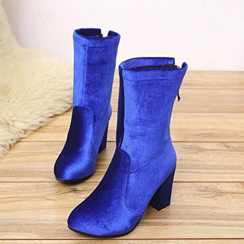 Women KaiCran Blue Boots Shoes Ankle Martin Warm Heels High Boots Ladies Boots Faux Winter Boots Buckle wwUTFrnEq