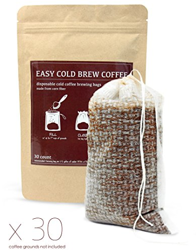 Cold Brew Coffee Maker Filters - Easy to Use, Disposable, Single Use, Fine Mesh / No Mess Brewing Bags for Iced Coffee, Cold Press, French Press, Tea in any Pitcher or Mason Jar (30 Count)
