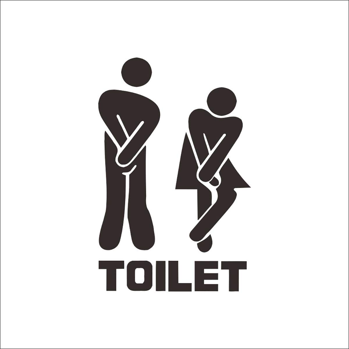 CHRISLZ 6PCS Creative Toilet Entrance Sign Decal PVC Sticker For Shop Office Home Cafe Hotel