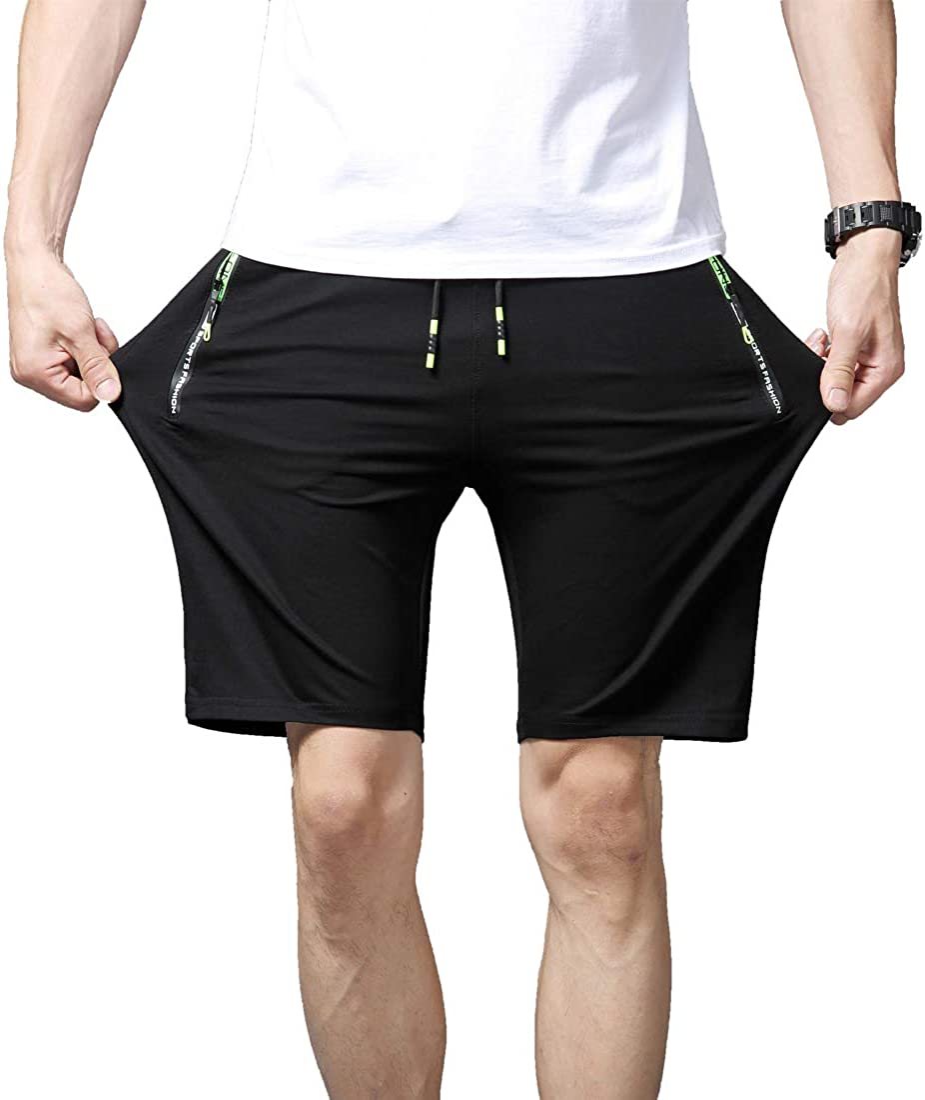 Tansozer Mens Casual Shorts Elastic Waist Comfy Workout Shorts Drawstring with Zipper Pockets