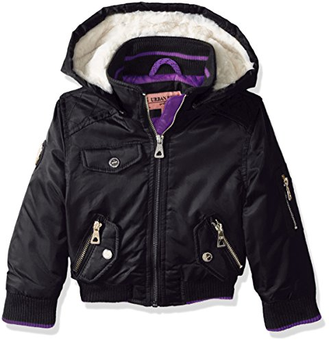 Urban Republic Toddler Girls' Ur Poly Twill Jacket, Black 5821TB, 3T (Kids Jacket Black Twill)