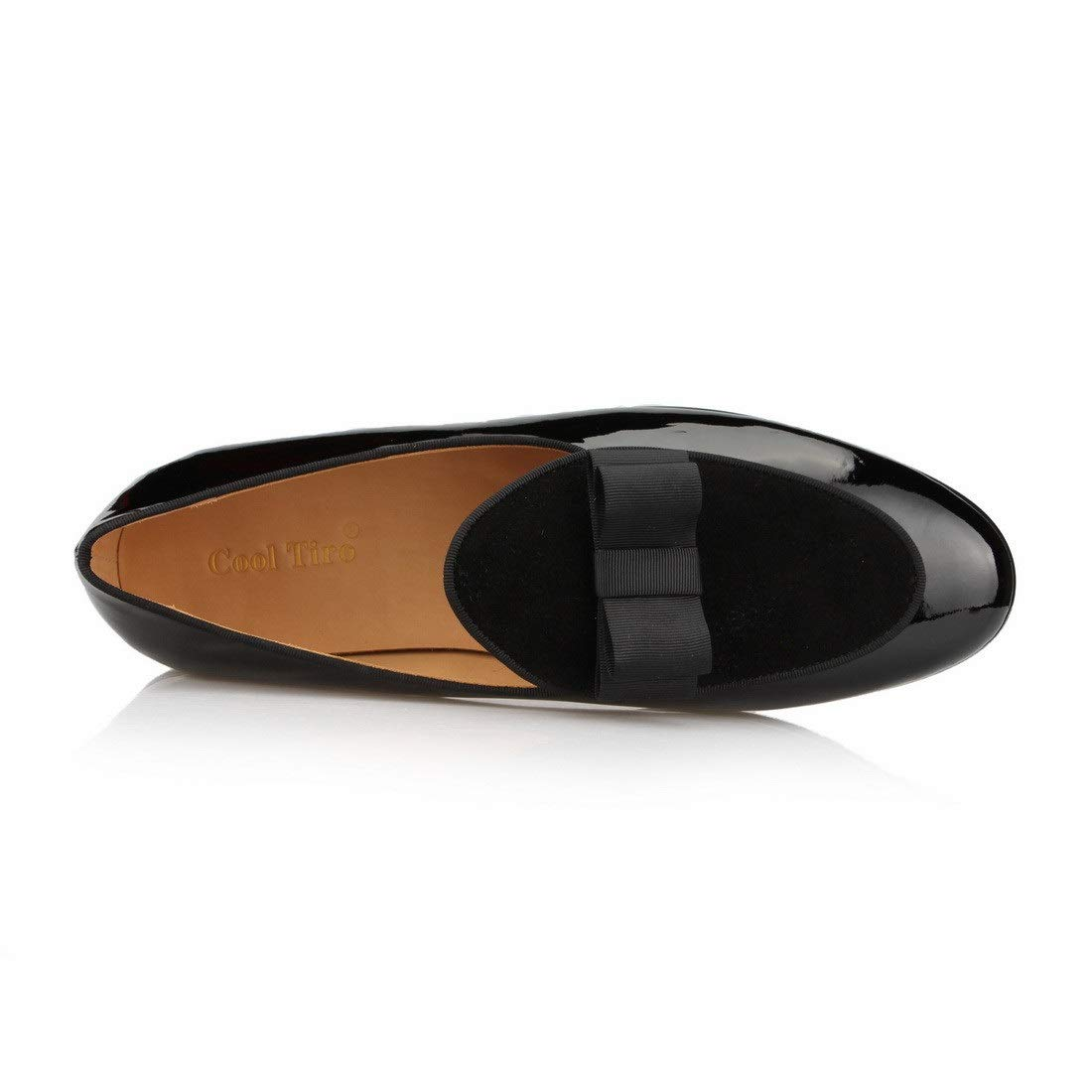 6a7530cdf861 COOL TIRO Patent Leather Loafers Bow Tie Flats Wedding Mens Dress Shoes  Casual Slip on