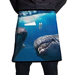 Dolphin Half Bistro Server Apron With 2 Pockets For Chef, Baker, Servers, Waitress, Waiter, Pocket Waist Apron For Men & Women