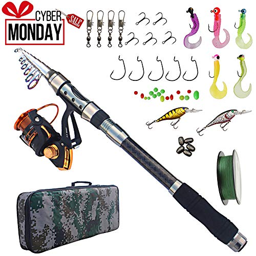 Freshwater Reel Case (Fishing Rod and Reel Combo Carbon Fiber Telescopic Spinning Portable Fishing Pole Fishing Gear with Line Lure Hooks Fishing Bag for Sea Saltwater Freshwater Boat Fishing)