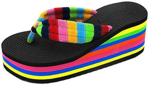 (bettyhome Women Lady Houndstooth High Heels Comfortable Rainbow Sole Thongs Casual Wedges Sandals Beach Flip Flops Slippers (8 B(M) US=EUR 39, Black))