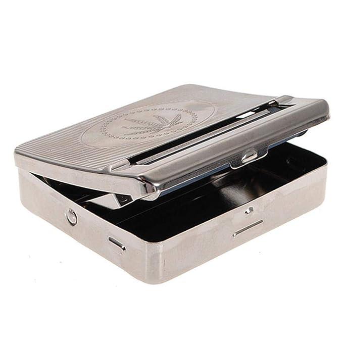 Naisicatar Caja de almacenamiento de metal para cigarrillos autom/ática