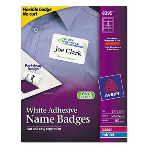 (Avery Flexible Self-Adhesive Laser/Inkjet Name Badge Labels, 2 1/3 x 3 3/8, WE,)