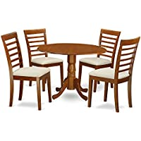 East West Furniture DLML5-SBR-C 5-Piece Kitchen Table and Chairs Set, Saddle brown