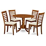 East West Furniture DLML5-SBR-C 5-Piece Kitchen Table and Chairs Set, Saddle brown Review