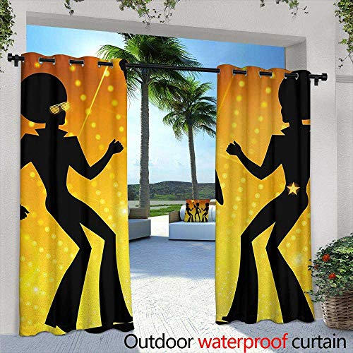 Tim1Beve Sliding Door Curtain 70s Party Dancing People in Disco Night Club with Afro Hair Style Bokeh Backdrop for Porch&Beach&Patio 108