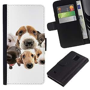 Beagle Labrador Retriever Dogs Breed - la tarjeta de Crédito Slots PU Funda de cuero Monedero caso cubierta de piel Samsung Galaxy Note 4 IV