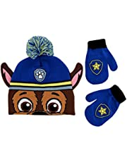 Nickelodeon boys Paw Patrol Character Beanie Hat and Mittens Set Winter Accessory Set - - Age 2-4