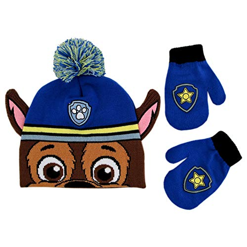 (Nickelodeon Boys' Toddler Paw Patrol Character Beanie Hat and Mittens Set, , Age 2-4)