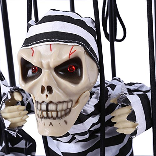 [Elevin(TM) Halloween Haunted House Bar KTV Decorative Props Hanging Ghost Voice Prisoners (A-without] (Black Spider Animated Prop)