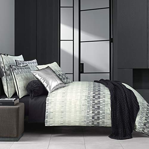 Five Queens Court Fulton Duvet Cover 100% Twill Cotton, Black, Full/Queen 98x90