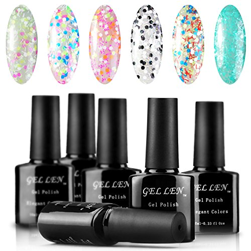 Gellen Gel Polish UV Gel Colors Nail Art 10ml 6Pcs Black Bot