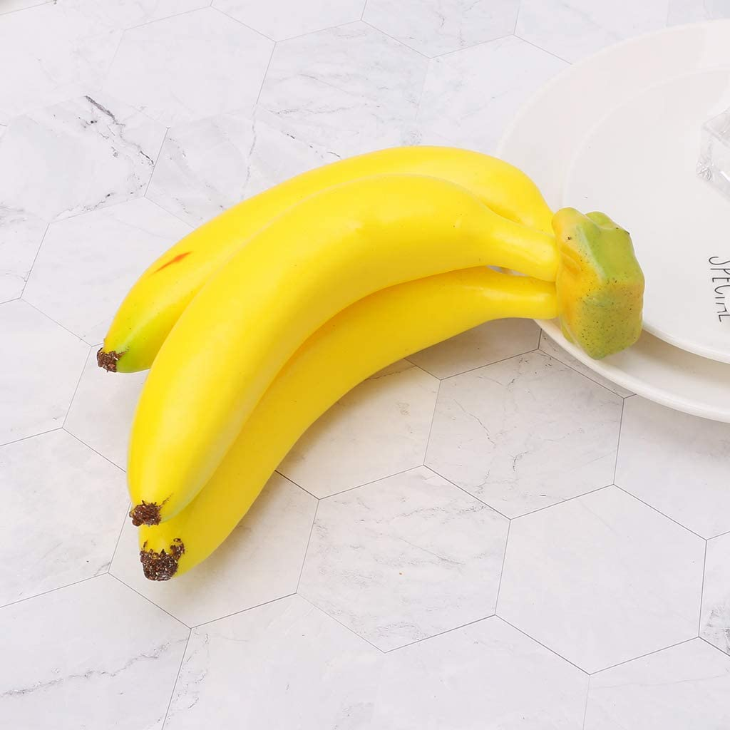 Zchenchen Realistic Lifelike Artificial Banana Bunch Fruit Simulation Plastic Decorative Fruits Display Creative Home Decor