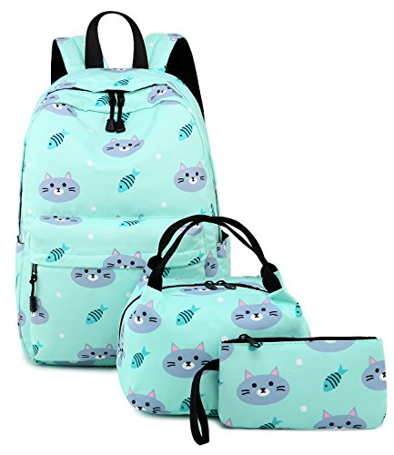 Abshoo Cute Lightweight Kids School Bookbags Cat Girls Backpacks With Lunch Bag (Cat Blue Set)
