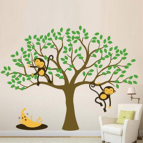 AmazingWall 50.06x77.17 Cartoon Monkey Tree Wall Sticker Living Room Bedroom Kids' Room Nursery Decor Home Removable 1PCS/Set