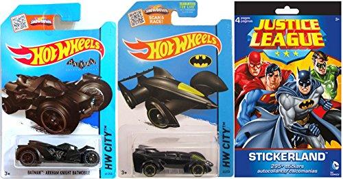 Justice League + Batman Hot Wheels Batmobile - Car & Sticker set Arkham Knight + Batman Live Hot Wheels Series set & Justice League Sticker (Batman Bold Justice Peel)