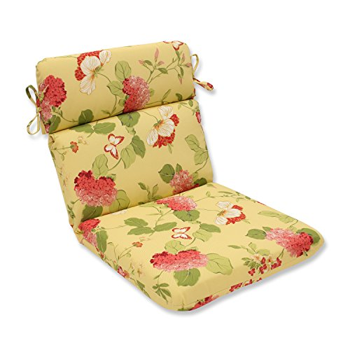 Pillow Perfect Indoor/Outdoor Risa Rounded Chair Cushion, Lemonade