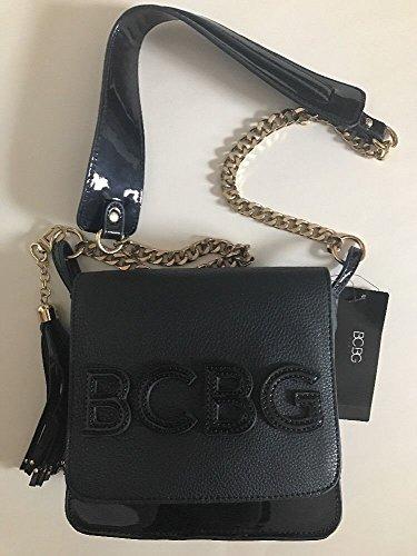 BCBG Paris Handbag Embossed Story Cross-body, Stylish Bag (Bcbg Black Bag)