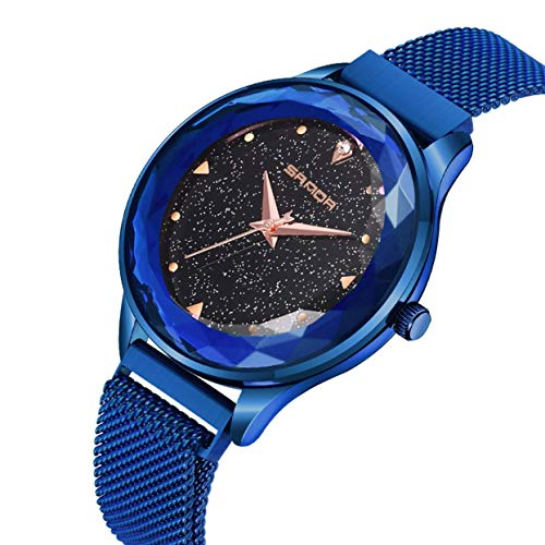 Round Shining Dial (Fashion Shining Round Dial Luxury Woman Girls Wrist Watch Quartz Movement Water Resistant Casual Watch Steel Wristband)