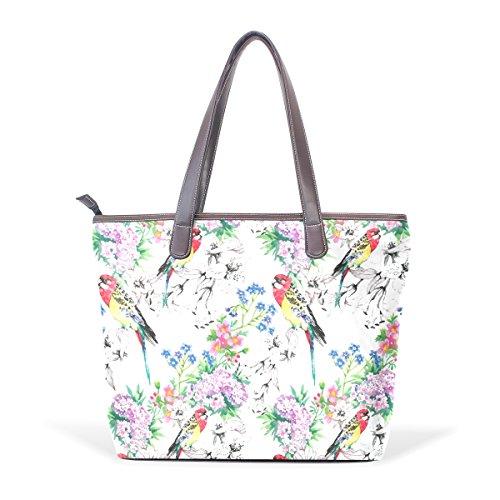 COOSUN Aves en grandes bolsas de mano de la PU de cuero de la manija de hombro jardín floreciente bolsa de asas L (33x45x13) cm muticolour