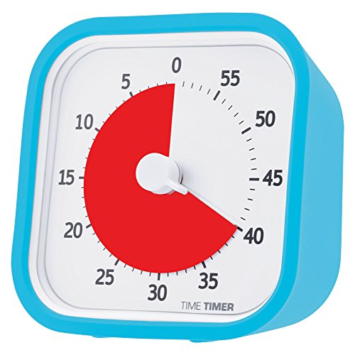 Time Timer MOD (Sky Blue), 60 Minute Visual Analog Timer, Optional Alert (On/Off), No Loud Ticking; Time Management Tool