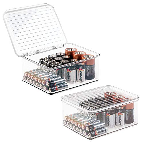 mDesign Small Stackable Divided Battery Storage Organizer Box Bin with Hinged Lid for AA, AAA, C, D, 9 Volt Sizes, Great Storage for Kitchens, Home Offices, and Utility Rooms - 2 Pack - Clear