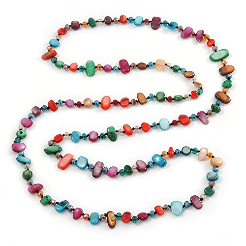 Long Multicoloured Shell Nugget and Glass Crystal Bead Necklace - 110cm L (Nugget Beads Shell)