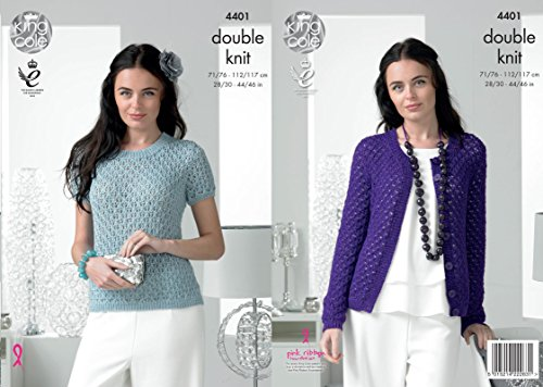 King Cole 4401 Knitting Pattern Ladies Sweater and Cardigan to knit in Glitz DK by King Cole