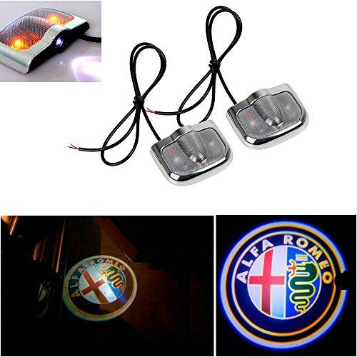 CHAMPLED For ALFA-ROMEO Laser Projector Logo Illuminated Emblem Under Door Step courtesy Light Sticker No Drill Lighting symbol sign badge LED Glow Car Auto Tuning Accessory Self Adhesive