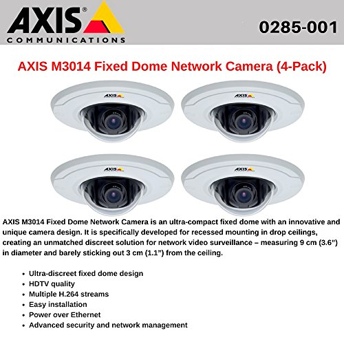AXIS M3014 (4-Pack) Fixed Dome Network Camera, HDTV quality, Power over Ethernet Axis M3014 Fixed Dome
