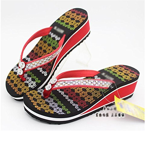 Yingsssq Tamaño Eu Uk Talón color 38 5 Informal B Medio 5 Verano Red D Chancletas Cómodo Chanclas Antideslizante De 7 Us HqwrTH7
