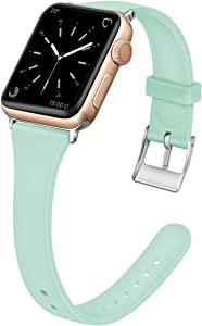 EXCHAR Slim Rubber Bands Compatible with Apple Watch Band 38mm 40mm Soft Silicone Replacement Band Women Unique Thin Wrist Strap for iWatch Series 4 3 2 1 M/L Light Green