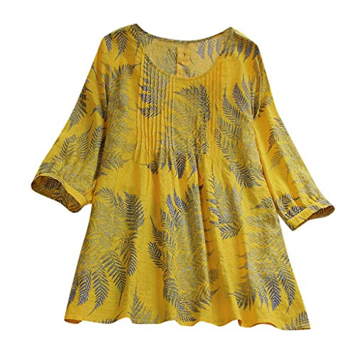 HYIRI Womens Casual Lightweight Loose Linen Sleeve Print Button Tanic Shirt Blouse Yellow -
