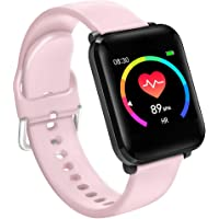 BINDEN BWatch Reloj Inteligente 42mm, Pantalla HD, Modo Fitness, Deporte, Notificaciones, Ritmo Cardiaco, iOS/Android IP68 (Rosa)