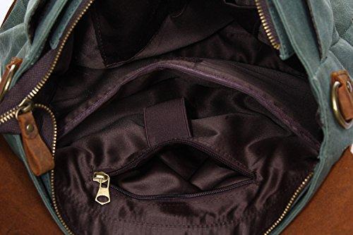 """Stepack marca Vintage Canvas de hombre de piel auténtica bolso de mano maletín para portátil de 14 """", 36 cm * 10 cm * 28 cm (L * W * H), caquI verde"""