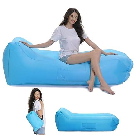 Lazy Wind Saco de Dormir Hinchable reclinable al Aire Libre ...