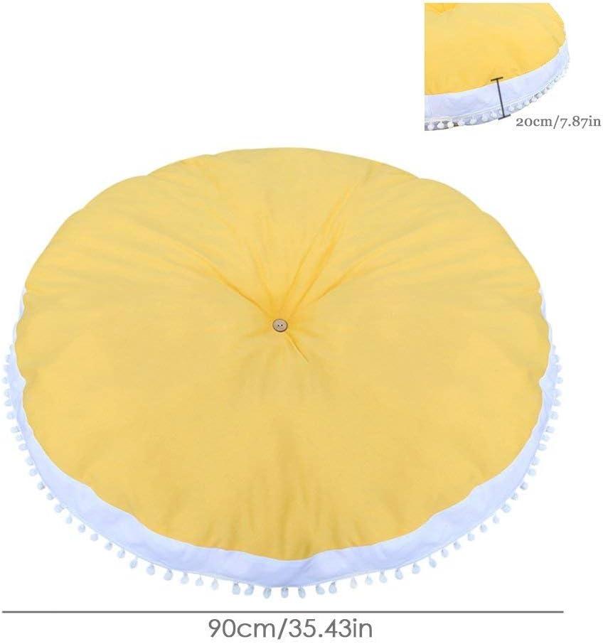 90cm x 90cm Pink Thickened Nursery Baby Cushion Round Mat with Pom Pom Ball ChildrenS Carpet Cotton Superb Soft Carpet Play Pad Nap Mat Kids Room Decor