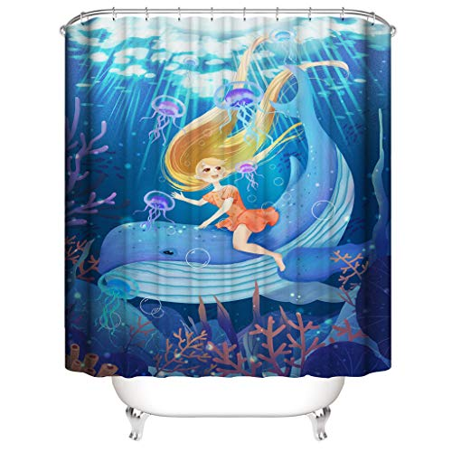 HOLD HIGH Shower Curtain, Marine Style Polyester Bathroom Bath Curtain Set with Undersea Animal - Shower Marina