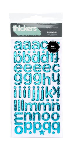 American Crafts Thickers Foil Chipboard Letter Stickers, Cinnamon Metallic Robin's Egg
