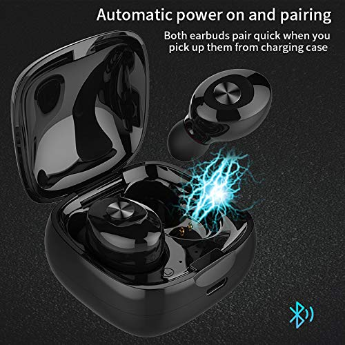Bluetooth Headphones, XINBAOHONG Wireless Mini Sports Earphones in Ear Headset Built-in Microphone and Noise Canceling Sweat Proof Earbuds with Charging Case for Most Smartphone