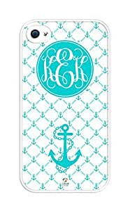 iZERCASE Monogram Personalized Turquoise Anchor Pattern rubber iphone 4 case - Fits iphone 4 & iphone 4s T-Mobile, Verizon, AT&T, Sprint and International (White) by supermalls