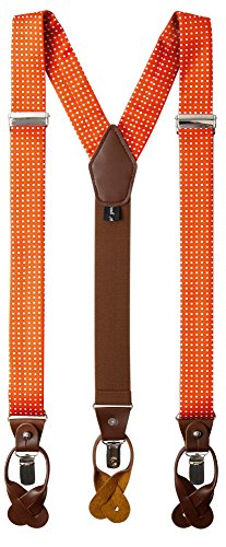 Jacob Alexander Men's Polka Dot Y-Back Suspenders Braces Convertible Leather Ends and Clips - Orange