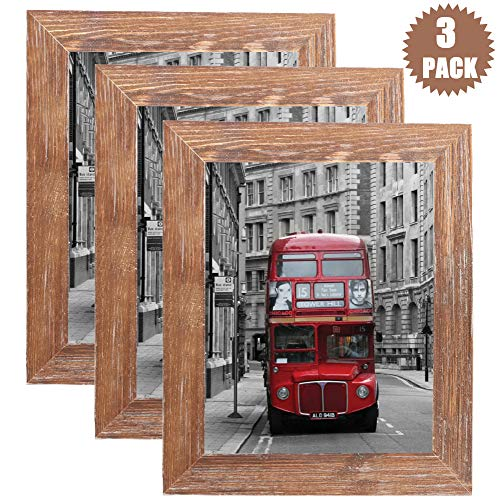 TNELTUEB 4x6 Picture Frames Solid Wood Rustic Distressed Wood Picture Frame Set with High Definition Glass for Wall Mount & Table Top Photo Display (3 Pack, Brown Wood Grain)